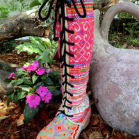 Colorful Anja Boot, Hmong Embroidery & Batik Lace Up Knee High Wedge Heel Sz 5