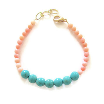Turquoise and Coral Bracelet Color Block Turquoise Blue Howlite, Pink Bamboo Coral Dainty Bracelet - Preppy, Beach, Boho, Stack Bracelet