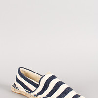 Canvas Stripe Espadrille Skimmer Loafer Flat