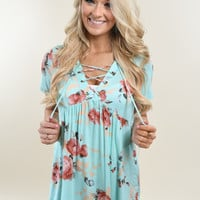 Favorite Lace Up Top ~ Floral Mint