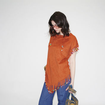 Vintage 70s Beaded Fringe Hippie Top