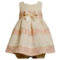 Bonnie Jean Baby/INFANT 12M-24M 2-Piece IVORY PINK LACE OVER LINEN BOW FRONT SWEETHEART NECKLINE Special Occasion Flower Girl Party Dress