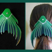 Green Dark Green Mermaid Tail leather Barette mermaid hair clip