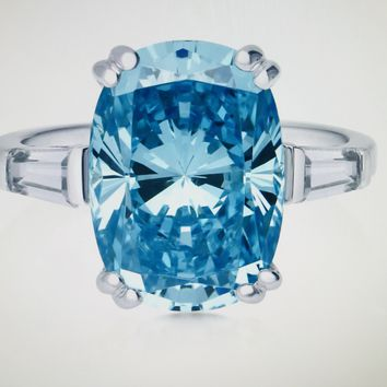 A Perfect 7.5CT Cushion Cut Aquamarine Solitaire Russian Lab Diamond Engagement Ring