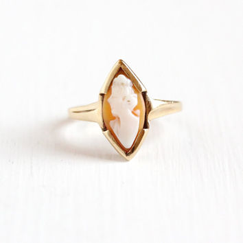 Vintage 10k Yellow Gold Marquise Cameo Ring - Art Deco 1930s Size 7 Carved Shell Fine Lady Silhouette Statement House of Kraus Jewelry