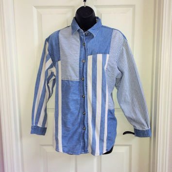 Vintage Denim Shirt / Patchwork Shirt / Striped Shirt / Medium