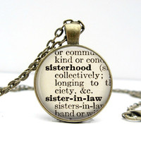 Sisterhood Sister-in-law Dictionary Necklace