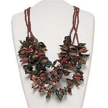 Ethnic Cotton Flower Coconut Shell Pod 3-Strand Muted Colors Statement Necklace