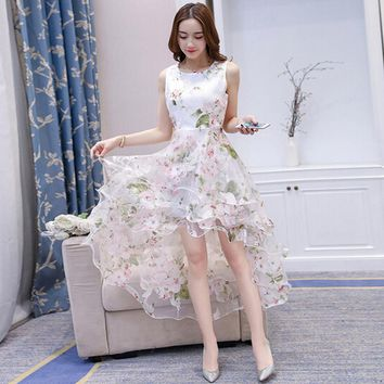 Elegant Ladies Cute Princess White Dress European Root Yarn A-Line Sleeveless Tank Dress Front Short Back Long Beach Party Dress