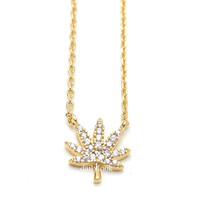 marijuana leaf necklace, leaf necklace, marijuana necklace, unique necklace, marijuana, handmade jewelry, dailylook, gold necklace