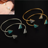 Gold silver triangle geometric bracelet