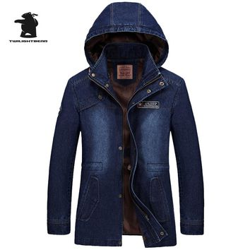 Brand men's Denim Trench Designer Fahion Hood Stand Collar Plus Size Long Casual Jacket Coat Men Pull Homme M~3XL D16F685