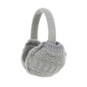 Cozy Design Women's Winter Adjustable Knitted Ear Muffs in Grey