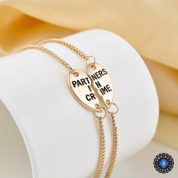 Partners In Crime Split Heart Friendship Couples Bracelet Set