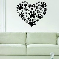 Dog Paw Print Heart Art Decal Sticker Wall Vinyl Art Animal Cute Beautiful