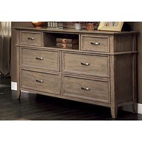 Sauv' Wooden Transitional Style Dresser, Weathered Oak Brown By Casagear Home