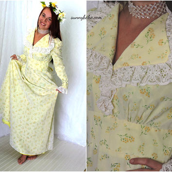 Vintage 60s maxi dress / size  XS / S / 4 / 6 / boho yellow flower dress / 1960s long hippie wedding gown / vintage prairie maxi dress