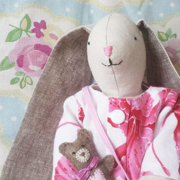 Stuffed bunny rabbit, Rabbit rag doll, Stuffed bunny toy, Easter tilda bunny, Nursery , Maileg, Doll bunny ears, Vintage toys, Dress up toy