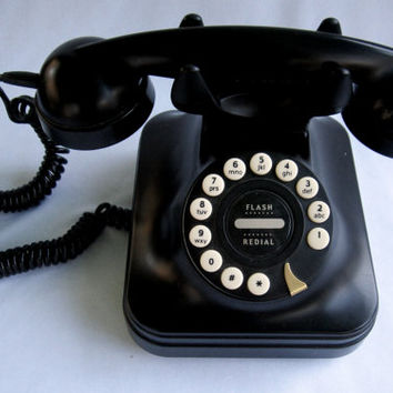 Push Button Black Telephone Replica 1950's PF Products Grand Telephone Handset