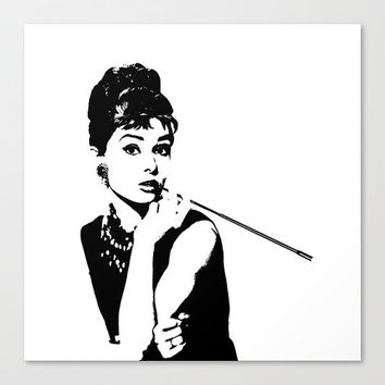 Art Print - Canvas Art - Breakfast at Tiffany's - Audrey Hepburn - Wall Decor - Black and White - Wall Art - Teen Room Decor -Fashion Decor