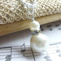 Bridesmaids necklace ivory white pearl wedding silver rhinestone necklace