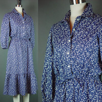 70s Prairie Dress Vintage 1970s Midi Navy Blue White Cotton Day Country Girl Ruffles S M