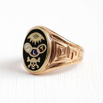 Odd Fellows Ring - Antique Rose Gold Filled Black Enamel Fraternal FLT Skull Crossbones & Eye Signet - Vintage Men's Size 8 Symbolic Jewelry