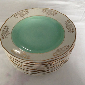 6 French Vintage Dinner Plate Mint Green And White Guilded including shipping
