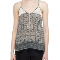 Leif Geo-Print Embroidered Tank Top, Size: