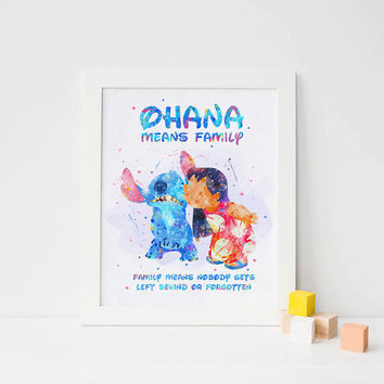 Lilo and Stitch print Disney Lilo and stitch Watercolor Disney ohana Print, disney decor, Watercolor nursery poster, ohana Poster disney art