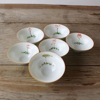 6 piece Chinese hand drawn porcelain teacups/tea bowls product