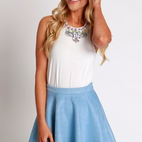 Suede Skater Skirt Dust Blue