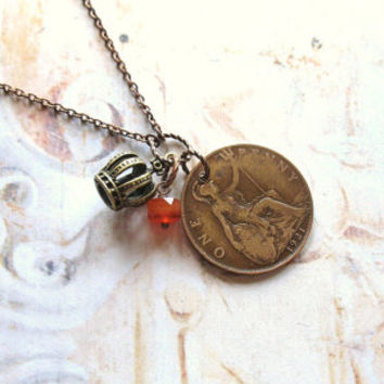 Lucky Penny - Antique Copper Coin, Gemstone and Crown Charm Handmade Necklace