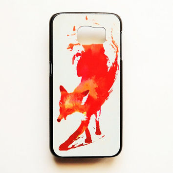 Samsung Galaxy S6 Red Fox Case Hard Plastic Watercolor Galaxy S6 Back Cover Sketch Pattern Samsung S6 Aztec Cover