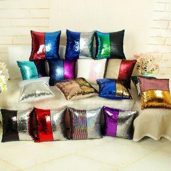 Double Color Sequined Pillow Case