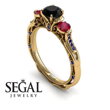 Unique Engagement Ring 14K Yellow Gold Art Deco Victorian Ring Edwardian Ring Black Diamond With Ruby - Elizabeth