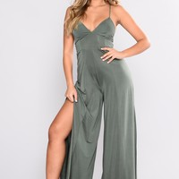 Straight From The Heart Slit Leg Jumpsuit - Hunter Green