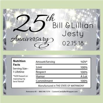 Sparkly Silver Anniversary Candy Wrapper