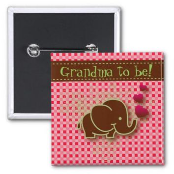 Bright Pink & Brown Baby Elephant | Grandma to be 2 Inch Square Button
