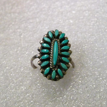 Sterling Silver Turquoise Petite Point Southwestern/Native American Ring, size 5.5