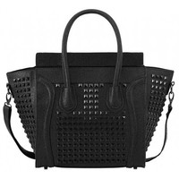 Black on Black Studded Tote Bag