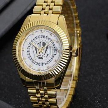 DCCKR2 Rolex men and women exquisite fashion watch F-PS-XSDZBSH Gold wristwatch + white dial