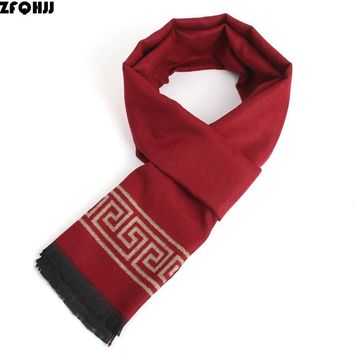 ZFQHJJ 2017 New Fashion Winter Scarf Men Cashmere Wool Business Scarf Wraps Tassels Scarves and Stoles Cachecol 180x30cm
