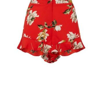 Cameo Rose Red Floral Frill Hem Shorts | New Look