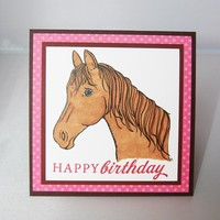 Pink Happy Birthday with Horse Hand Made Card