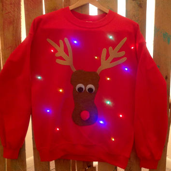 light up ugly christmas sweater rudolph