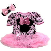 Minnie Mouse Tutu -Baby Black Light Pink Minnie  Demask Pettiskirt - New Born Baby Tutu Set - Baby Shower Gifts -Little Miss Minnie Tutu Set