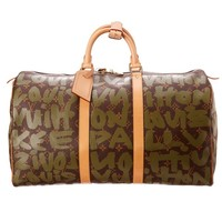 Louis Vuitton Limited Edition Stephen Sprouse Green Graffiti Monogram Canvas Keepall 50