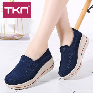 Platform Sneakers Leather Suede Slip on Flats