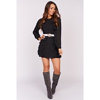 New Memories Ruffle Mini Dress (Black)